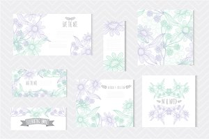 Blue Green Floral Cards