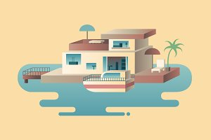 House on water with yacht