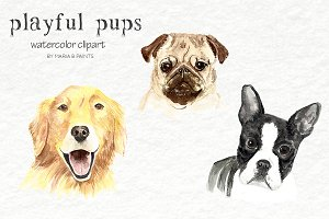 Watercolor Clip Art - Dogs