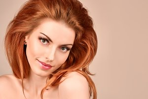 Beauty fashion portrait nude redhead