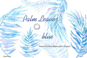 Watercolor clipart Palm Leaves Blue