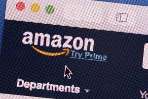 Amazon logo on screen closeup
