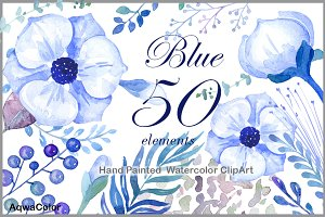 Watercolour clipart Blue