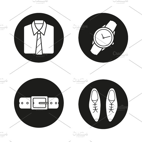Men's accessories icons. Vector - Icons