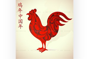 Red rooster as Chinese zodiac symbol