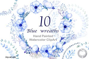 Watercolour clipart Blue Wreaths