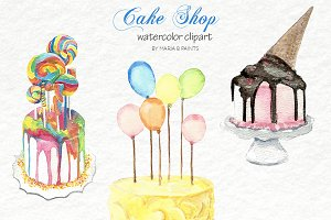 Watercolor Clip Art - Cakes