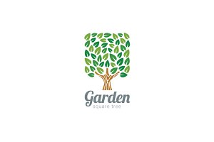 Green Tree Logo Square shape design