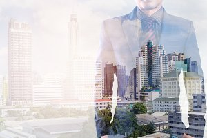 Double exposure of businessman