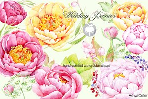 Watercolor clipart Wedding peonies