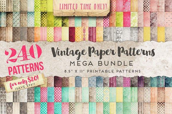 vintage paper patterns mega bundle graphic patterns creative market