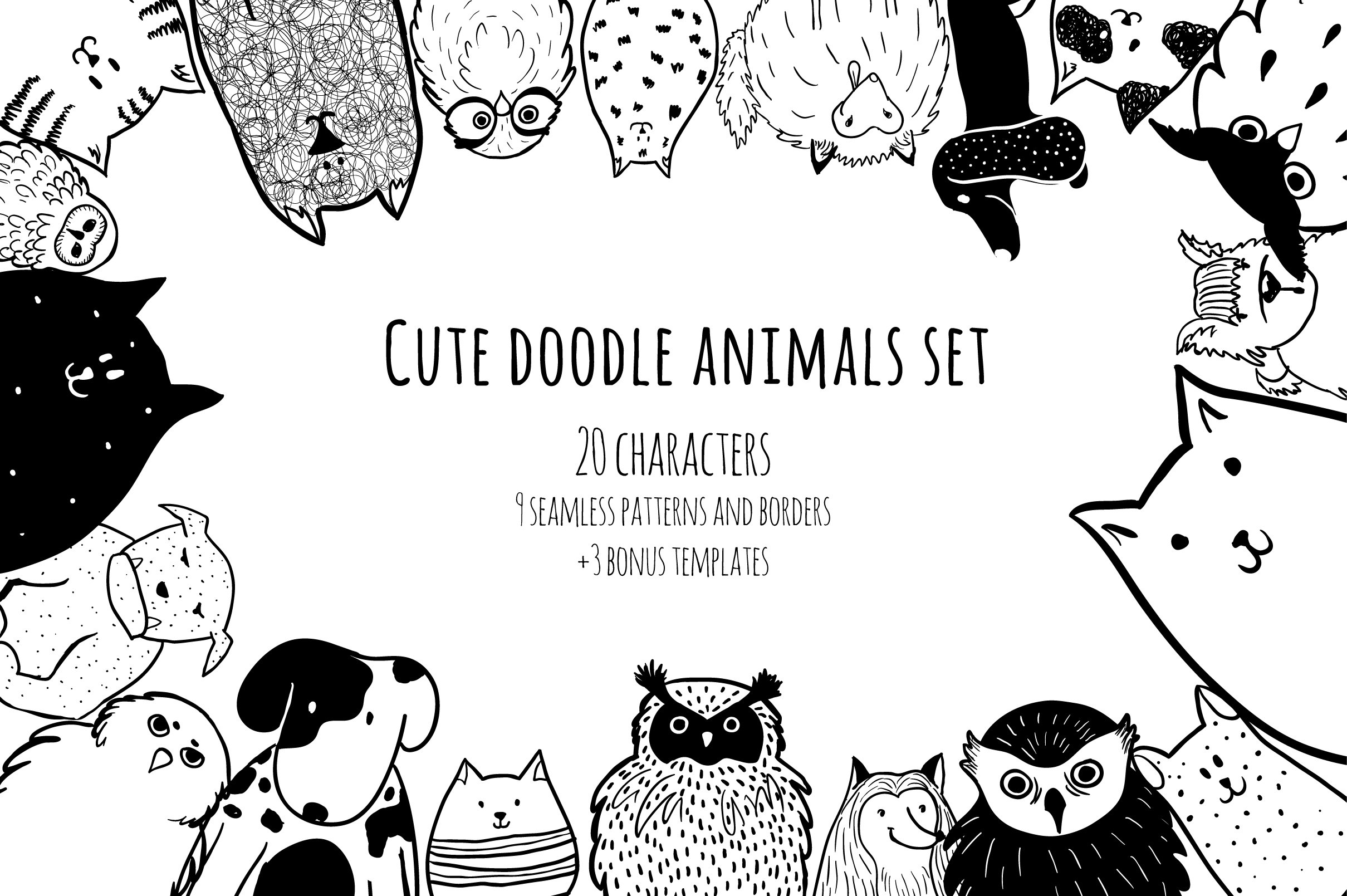 Cute doodle animals set ~ Illustrations ~ Creative Market