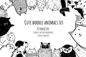 Cute doodle animals set