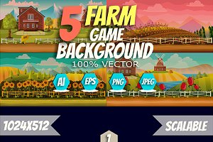 5 Level Farm Game Backgrounds