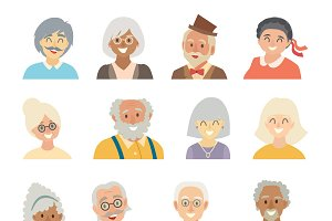 Old people icons vector set