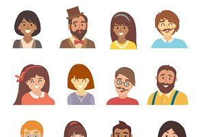 Young people icons vector set