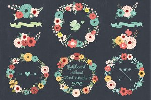 Chalkboard Natural Floral Wreaths 3