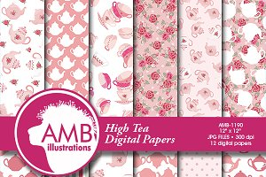 Tea Time Digital Papers AMB-1190