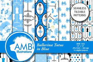 Ballet Digital Papers in Blue, 1326
