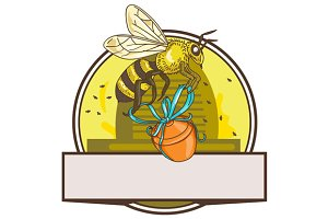 Bee Carrying Honey Pot Skep Circle