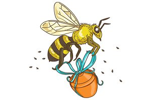 Bee Carrying Honey Pot Drawing