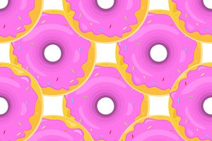 Set of Donut Seamless Background