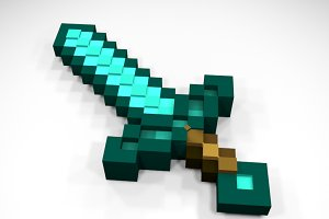Minecraft Diamond Sword - Full 3D
