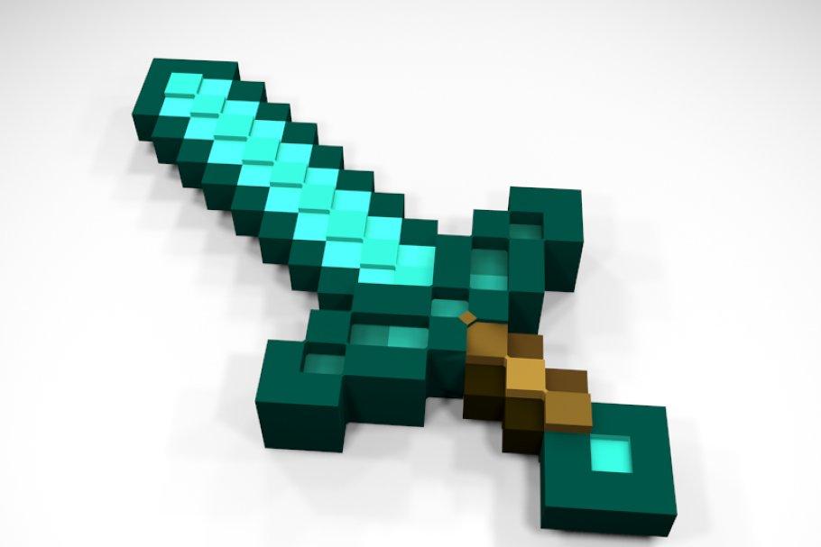 Minecraft Diamond Sword - Full 3D ~ Weapon Models ~ Creative