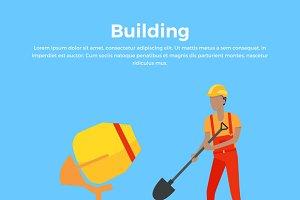 Building Banner Web Design Flat