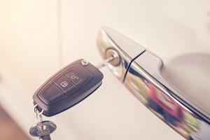 Left key on the car door