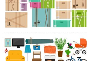 Furniture and boxes icons