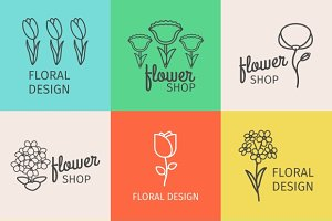 Floral design linear logo and icons