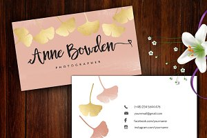 Ginkgo Leaves name card