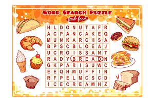 Word search puzzle with fast-food.