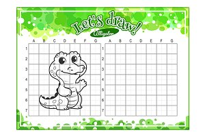 How to draw cute cartoon alligator.