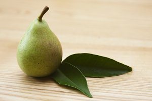 pear on wooden background