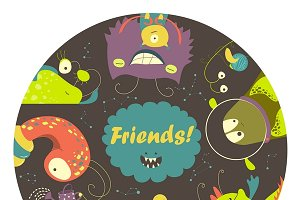 Cartoon alien monsters friends