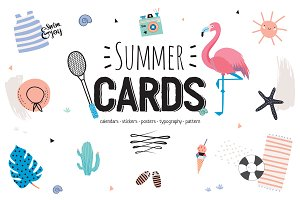 Summer cards, calendars, typography
