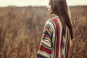girl in a color sweater