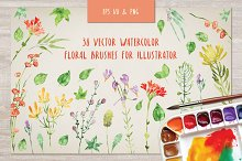Floral watercolor brushes bundle