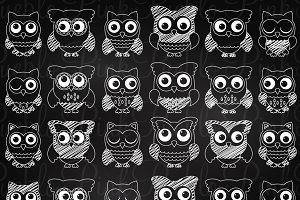 Chalkboard Owls Clip Art & Vectors