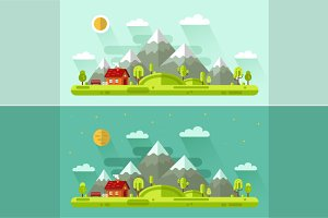 Day & Night Landscapes Vector