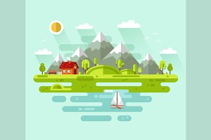 Mountain & Sea Landscape Vector