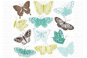 12 Butterfly Clip Art