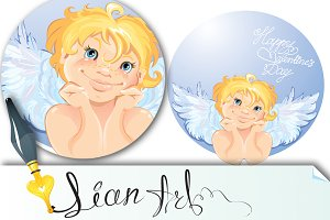 Cute angel in the round frame.