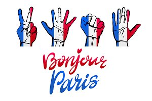 Bonjour Paris card. signs hands