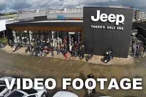 Flying over the people at Jeep