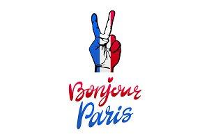 Bonjour Paris card. hand victory