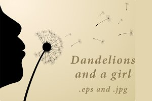 Dandelions and silhouette of a girl