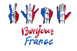 Bonjour France card. hand sign